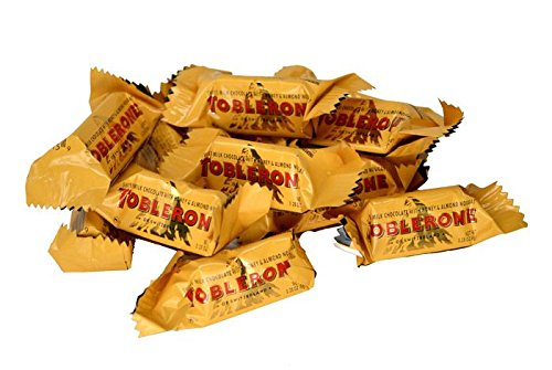 Toblerone New Mini Milk Chocolate Bars - Individually Wrapped - Famous Triangle Chocolate with Honey and Almond Nougat (1 Pound)