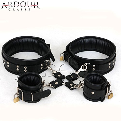 Genuine Black Real Leather Thigh & Wrist Cuffs 5 Pieces Set Restraints Hog-tie Padded Cuffs