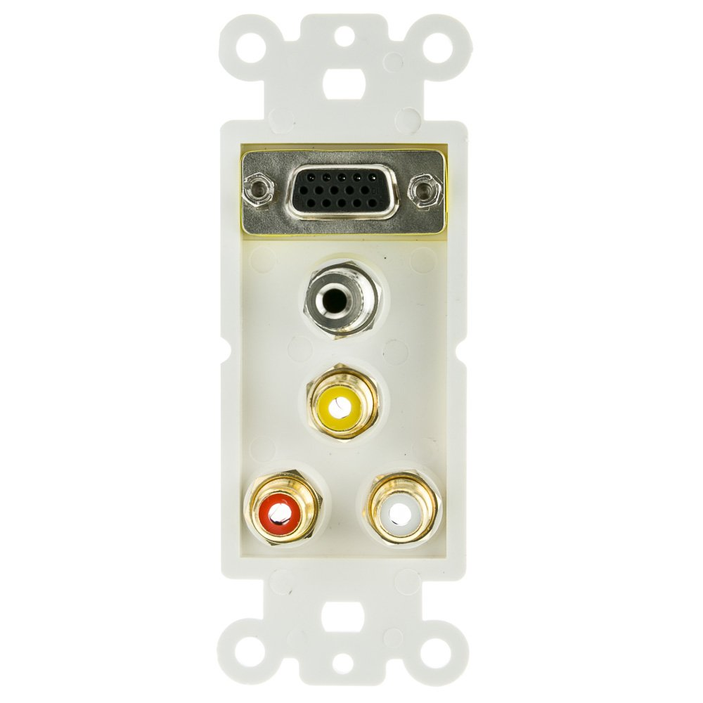 ACL Decora with 1 VGA, 3.5mm Stereo and 3 RCA (Red/White/Yellow) Female Couplers Wall Plate Insert, White, 25 Pack by ACL