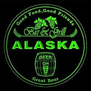 4x ccpr2002-g ALASKA Bar & Grill Beer 3D engraved Drink Coasters