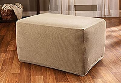 Sure Fit Stretch Stripe - Ottoman Slipcover