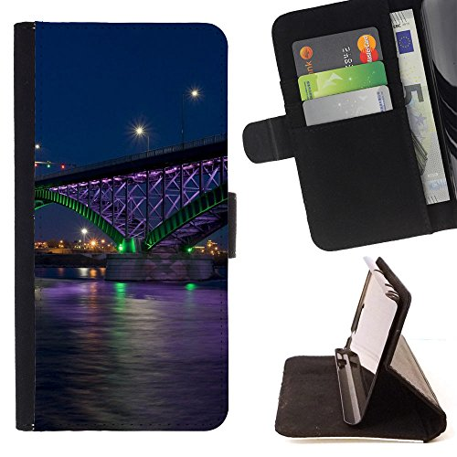 God Garden - FOR Apple Iphone 5C - Bridge City - Glitter Teal Purple Sparkling Watercolor Personalized Design Custom Style PU Leather Case Wallet Fli