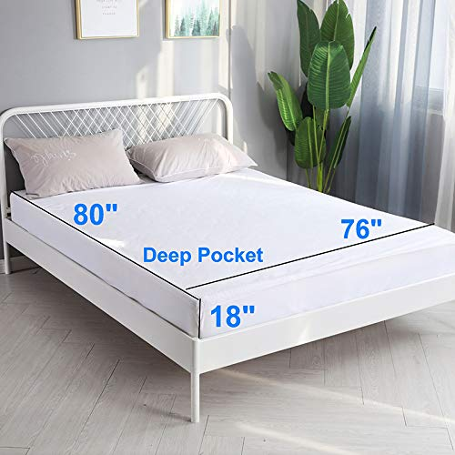 Mattress Cover for King Bed Waterproof Bed Mattress Cover Washable Breathable and Reusable Mattress Protector with Deep Pocket 18