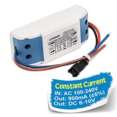 Chanzon LED Driver 900mA (Constant Current Output) 6V-10V (Input 100-240V AC-DC) (2-3)x3 9W 10W Power Supply 900 mA Lighting Transformer Drivers for 10 W High Power COB Light Lamp Bulb (Plastic Case)