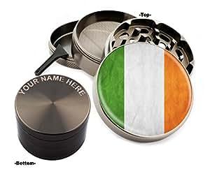 Irish Flag Design Large Size Zinc Grinder With Your Name FREE - Gift Pack # ZG112015-67