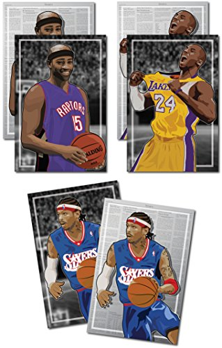 3 Posters of NBA Early 2k - Allen Iverson, Vince Carter, Kobe Bryant Art Prints - Buy 1 Get 2 Free, 3 total prints (2-sided) (Medium Set - - One Get Oakley Buy One