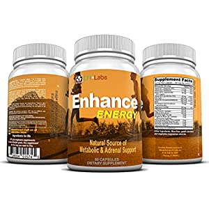 Enhance Energy Caffeine Fat Burning — Stack for 6 Solid Hours of Metabolic Energy, Concentration, and Focus Supplement, Plus Antioxidants, Vitamin B, L-Taurine, Ginseng, Maca & More. 60 Servings