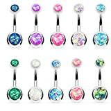 BodyJ4You Created-Opal Navel Ring 10 Belly Button Rings 10PC Set Glitter Piercing Bar