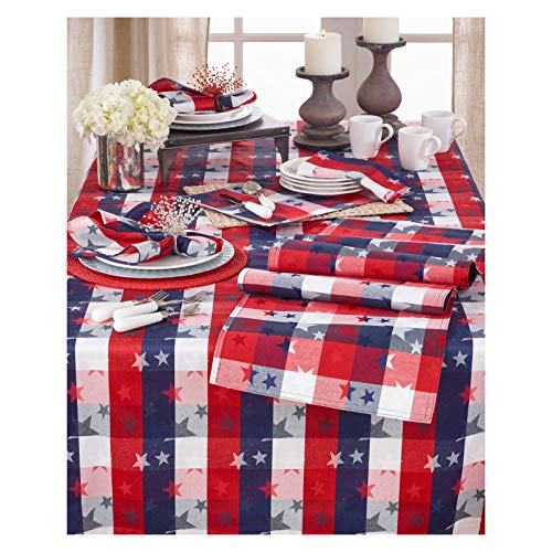 - Occasion Gallery Red White and Blue Checkered with Stars Cotton/Polyester Blend Patriotic Tablecloth, 70