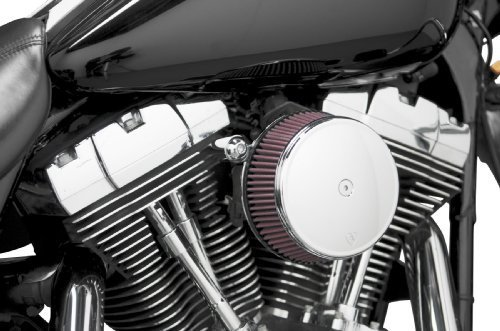 Arlen Ness Billet Sucker Stage I Air Filter Kit with Steel Cover - Smooth Chrome - Red Filter 18-320 by Arlen Ness