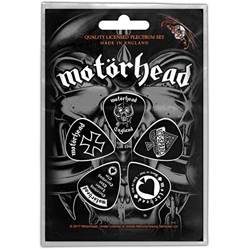 - Motorhead Guitar Pick Plectrum Pack X 5 England Band Logo Official Black