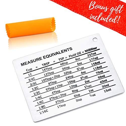 Magnetic Kitchen Conversion Chart - Professional Measurement Refrigerator Magnet in 18/8 Magnet Size - Liquid Conversion Chart