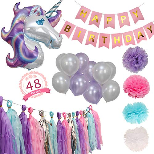 Party Maniak Unicorn Party Supplies Decorations for Girls with Banner, Foil and Latex Balloons, Tassels and Pom Pom - 48 Pieces -