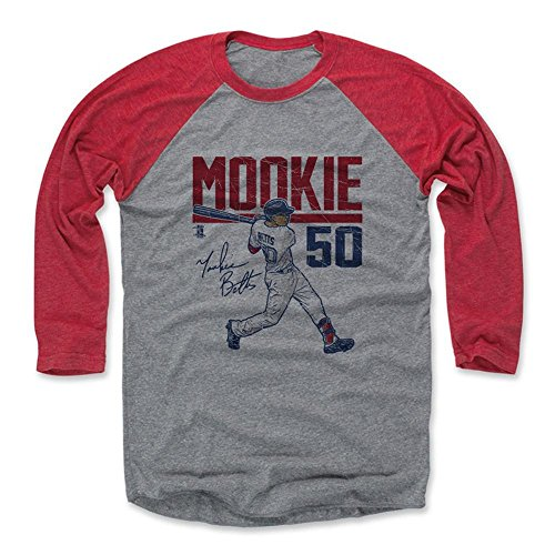 500 LEVEL's Mookie Betts 3/4th Baseball T-Shirt L Red / Heather Gray - Mookie Betts Hyper R - Boston Baseball Fan Gear Officially Licensed by the MLB Players Association
