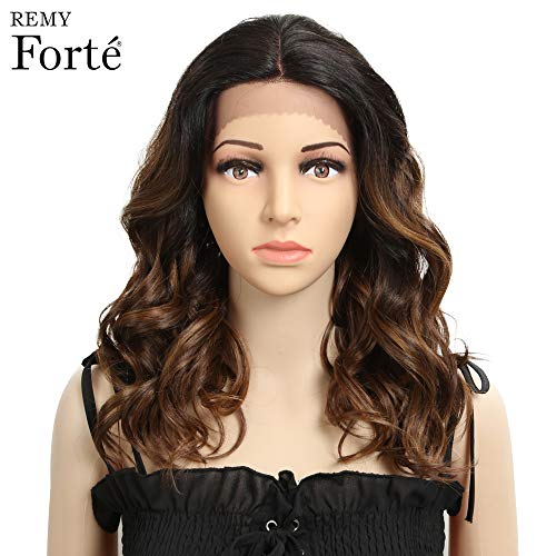 REMY FORTE Shoulder Length Wavy Wig Lace Front Heat Resistant Hair Wigs, Medium Long Wavy Ombre Color Synthetic Hair Wigs with Middle Parting Half Hand Tied 160 Grams 18 Inches (TTSO4/30S/30F/27I) (Best Hair Color For Shoulder Length Hair)
