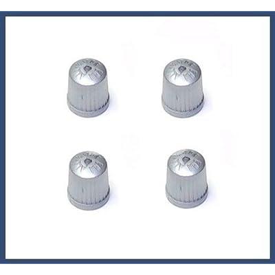 BMW TPMS Wheel Valve Stem Cap set Gray (x4) tire air fill screw on cover: Automotive
