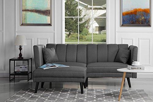 Living Room Modern Futon Frame - Mid-Century Modern Linen Fabric Futon Sofa Bed, Living Room Sleeper Couch (Dark Grey)