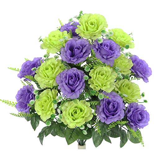 Admired By Nature ABN1B002-KW-LAV Artificial Rose Flower Bush Kiwi/Lavender ()