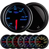 "GlowShift Tinted 7 Color 60 PSI Turbo Boost Gauge Kit - Includes Mechanical Hose & Fittings - Black Dial - Smoked Lens - For Diesel Trucks - 2-1/16"" 52mm"