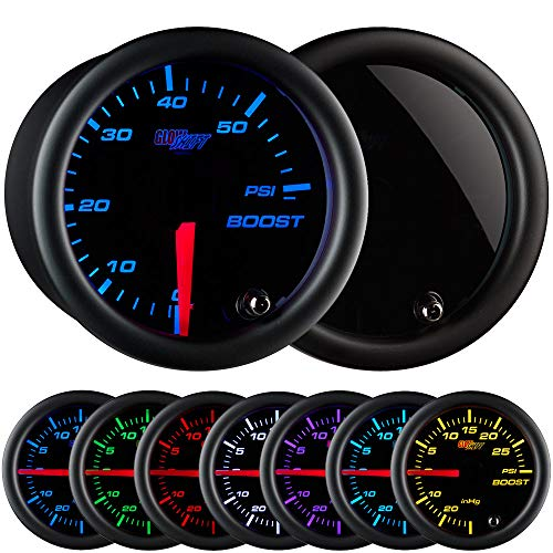 (GlowShift Tinted 7 Color 60 PSI Turbo Boost Gauge Kit - Includes Mechanical Hose & Fittings - Black Dial - Smoked Lens - For Diesel Trucks - 2-1/16