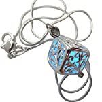 UMBRELLALABORATORY Wishing Square Box Magical Fairy Glow in The Dark Necklace-Blue-SIL 8