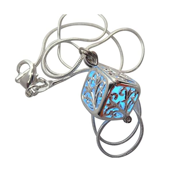 UMBRELLALABORATORY Wishing Square Box Magical Fairy Glow in The Dark Necklace-Blue-SIL 5