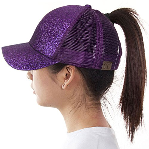 ScarvesMe C.C Ponytail Cap Messy Buns Trucker Plain Baseball Ponycap Hat (Glitter Purple)