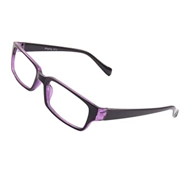 d1b8399cc5f Lady Man Black Purple Full Frame Plastic Arms Clear Lens Plain Glasses   Amazon.co.uk  Sports   Outdoors