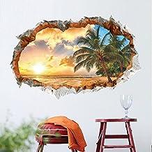 Wowall 3D Beach Seaside Coconut Tree Golden Sunset Wall Stickers