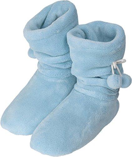 Damen-Fleece-Hausschuhe mit rutschfester Sohle und Bommeln am Schaft Hellblau