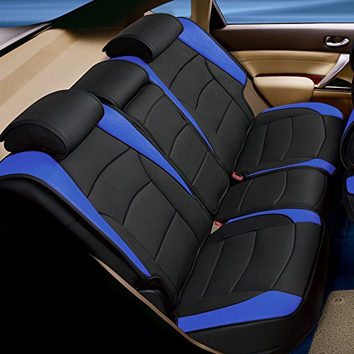 - FH Group PU205013 Ultra Comfort Leatherette Bench Seat Cushions Blue/Black Color- Fit Most Car, Truck, SUV, or Van