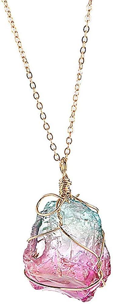 SUIYUE Colgante de Cristal Multicolor Colgante Original de Piedra Natural con Cuerda Artesanal