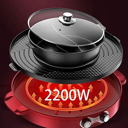 Fondue Electrique Hot Pot BBQ Service à Fondue Poêle Electrique avec Double Contrôle De La Température, Électrique Multifonctionnel Pan De Cuisson,UK