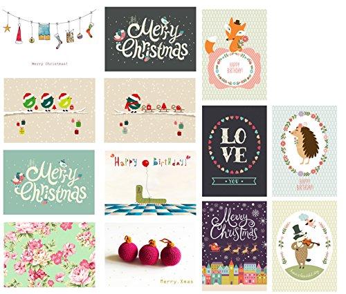 13 Postkarten, Postkarten-Set, Geburtstagskarten, Weihnachtskarten, Grußkarten