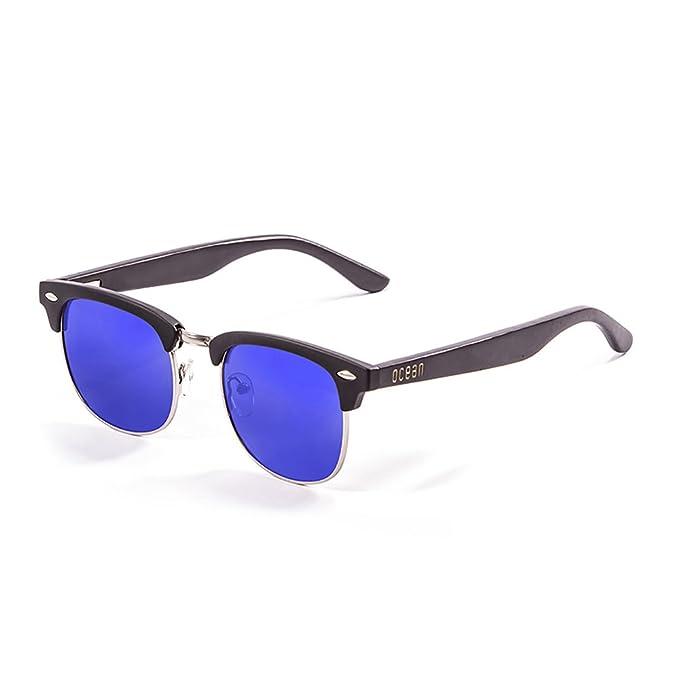 Ocean Sunglasses Remember Lunettes de Soleil Mixte Adulte, Matte Black Frame/Wood Black Arms/Revo Blue Lens