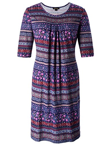 Chicwe Women's Plus Size Vintage Floral Designed Shift Dress with Pleats - Knee Length Casual and Work Dress 3X Navy - Dress Pleat Maternity Sleeve