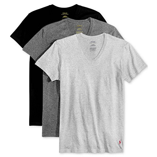 (Polo Ralph Lauren Classic V-Neck T-Shirts 3-Pack, M, Assorted Grey)