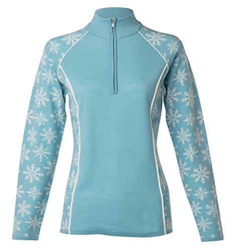 Krimson Klover Downhill Edge 1/4 Zip Pullover Merino Wool Sweater (Milky Blue, Small)