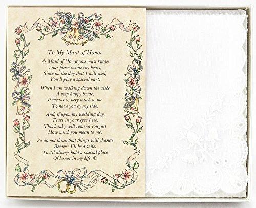 Handkerchief Box - Wedding Handkerchief Poetry Hankie (for Bride's Maid of Honor) White, Lace Embroidered Bridal Keepsake, Beautiful Poem | Long-Lasting Memento for The Bride's Maid of Honor | Includes Gift Storage Box