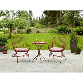 Generic 3 Piece Outdoor Patio Furniture Sets Metal Red Heavy Coated Durable  Steel Frame