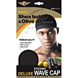 (US) Healthy Treated Wave Deluxe Stocking Wave Cap Black (3 Pack)