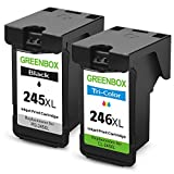 GREENBOX Remanufactured Ink Cartridge Replacement For Canon PG-245XL 245 XL CL-246XL 246 XL (1 Black+1 Tri-Color) High Yield For Canon PIXMA MX492 MG2920 MG2520 IP2820 MG2420 MG2922 MG2924 Printer