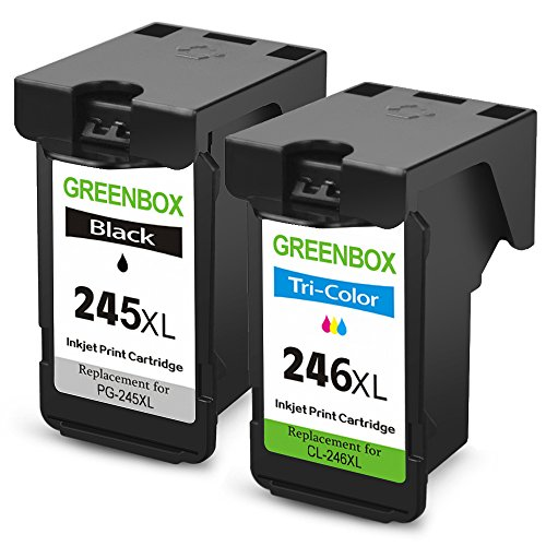 GREENBOX Remanufactured Ink Cartridge Replacement For PG-245XL 245 XL CL-246XL 246 XL (1 Black+1 Tri-Color) High Yield For Canon PIXMA MX492 MG2920 MG2520 IP2820 MG2420 MG2922 MG2924 Printer