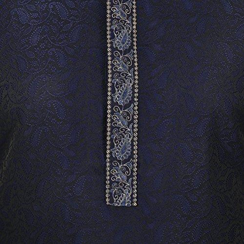 Hombre Kurta Para Jacquard Arce Pajama Azul Mapleclothing Ropa Seda Indio Partido Desgaste fwxTAtqx