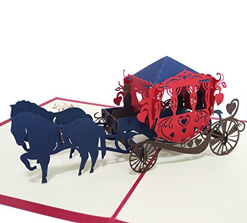 3D Pop up Card Princess Carriage with Horses Gretting Card Wedding Card Birthday Card Kids Thank You Card Anniversary Thanksgiving Card Father's Day Mother's Day Card Christmas