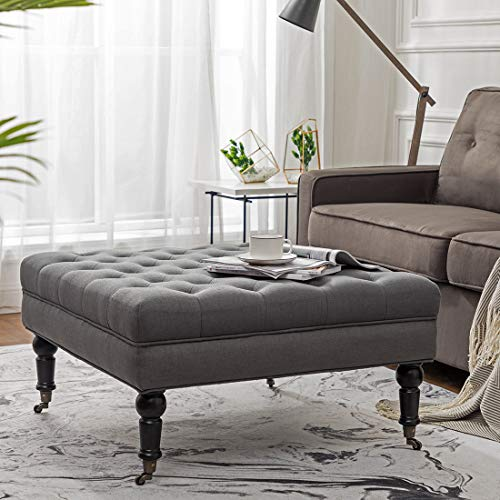 Simhoo Large Square Tufted Lined Ottoman Coffee Table with Casters,Grey Upholstery Button Footstool Cocktail with Wheels for Living - Table Ottoman Large Coffee