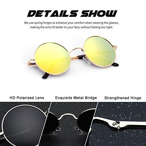 CGID E01 Petites lunettes de soleil polarisées inspirées du style retro vintage Lennon en cercle métallique rond jjyAP