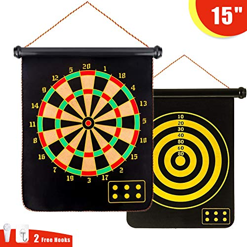 Magnetic Dart Board, 15″ Double-Sided Magnetic Dart Game Set with 12 Dart Flights Safe Indoor & Outdoor Games Toy Gift for Kids and Adults