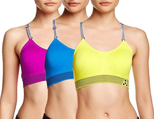 Balanced Tech Ultimate Performance Seamless Sports Bra 3-Pack - Fusion/Blue Aster/Sulphur Spring - X-Large - Fusion Sports Bra