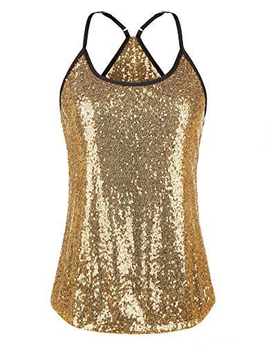 Meaneor Women's Sequin Tank Top Spaghetti Strap Camisole Sparkle Club Vest Top,Gold,XL